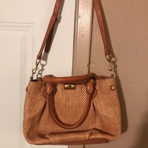 J. Crew Medium Size Tan Brown Straw Handbag